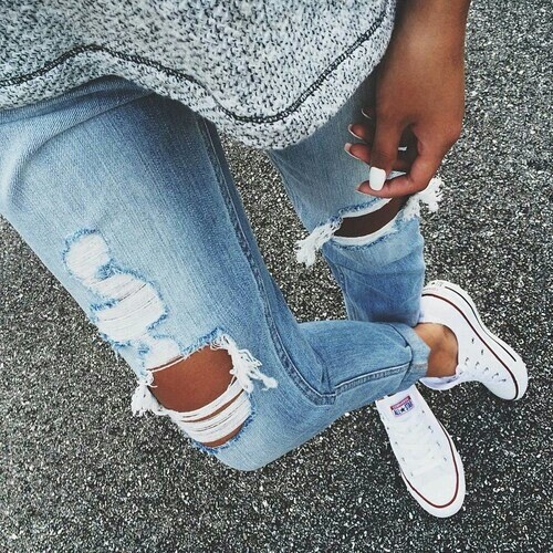 chuck taylors cute fashion outfit ripped jeans style. Black Bedroom Furniture Sets. Home Design Ideas