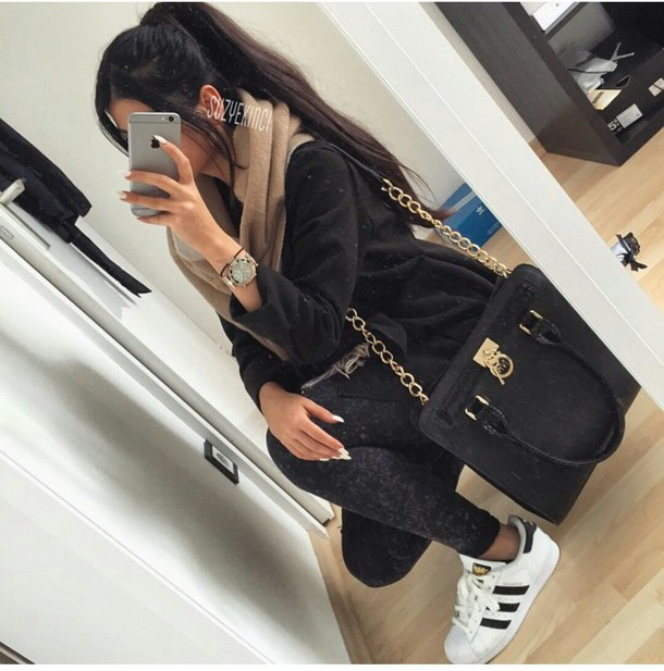 adidas, bag, fashion, hair, iphone, jewellry, outfit