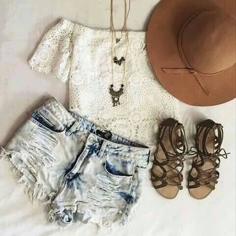 brown, clothing, cool, crop top, cute, denim shorts, distressed, faded jeans, gladiators, hat, hot, lace, light, outfit, ripped, sandals, shorts, style, summer, sunny, trend, warm, white