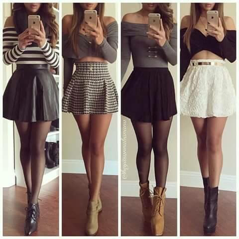 beige, black, black and white, boots, brown, clothing, crop top, cute, going out, lace, leather, off shoulder, outfit, shirts, shopping, skater skirt, skirt, strips, tops, white