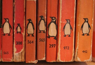 aesthetic, books, cute, orange, penguins