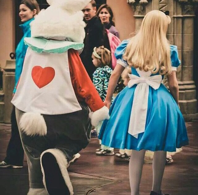 alice, alice in wonderland, awesome, beauty, bff, blonde, blue, bunny, cool, costume, couple, cute, disney, disney characters, disney land, disney world, dress, friends, girl, goals, holding hands, lol, love, omg, pretty, sweet, wow