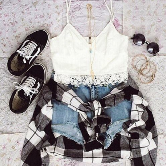 black, clothes, cool, crop top, fashion, glasses, hipster, jeans, outfit, shoes, shorts, style, summer, sunglasses, t-shirt, vans