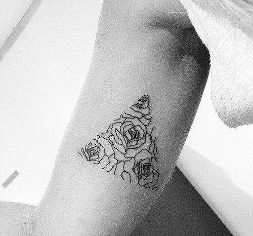 black, black and white, cute, dark, darkness, flowers, grunge, hipster, pyramid, roses, small, tattoo, triangle, beautiful