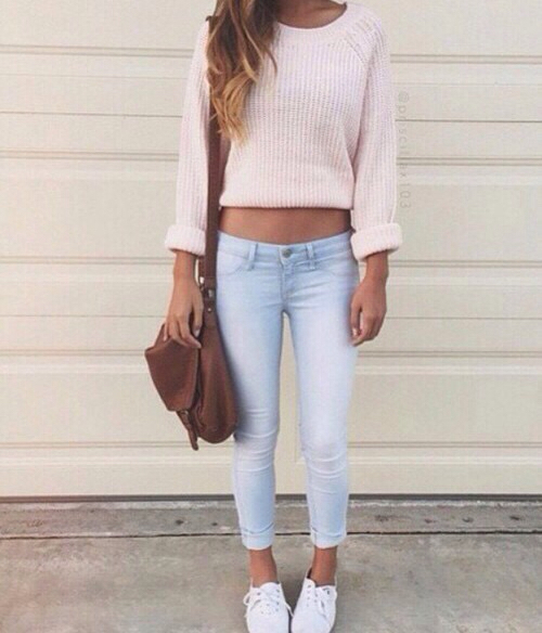 Bag Crop Top Fashion Girl Hairstyle Jeans Jewellery Long Hair