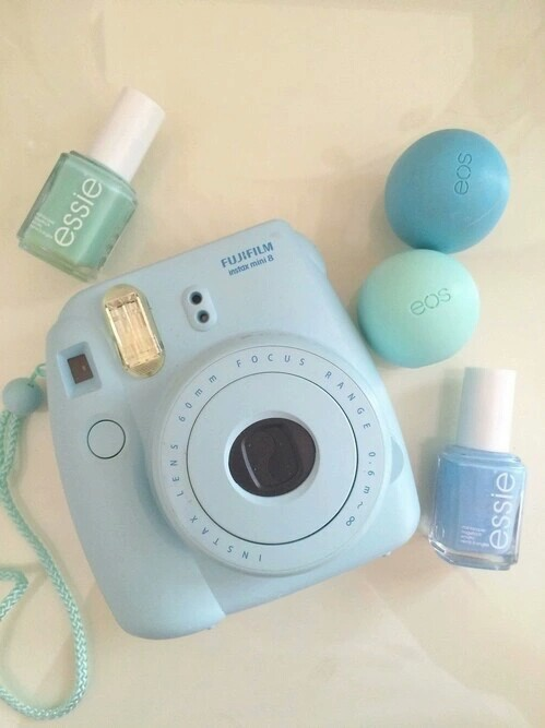 blue, eos, fashion, instax, lip balm, make up, nail art, photo