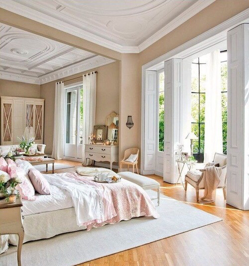 bed bedroom big nice pink pretty room simple windows image