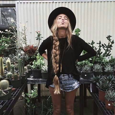 black, cute, flowers, hair, hat, plants