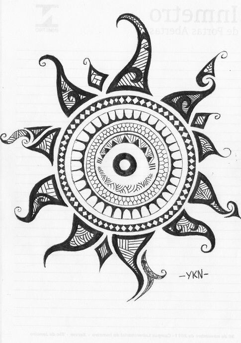 draw, drawing, mandala and sun
