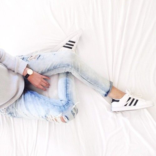 Adidas fashion grey sweater ripped jeans black and white shoes sneakers outfit - image ...