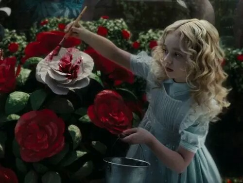 alice in wonderland, disney, little alice, paint, pretty, red, roses