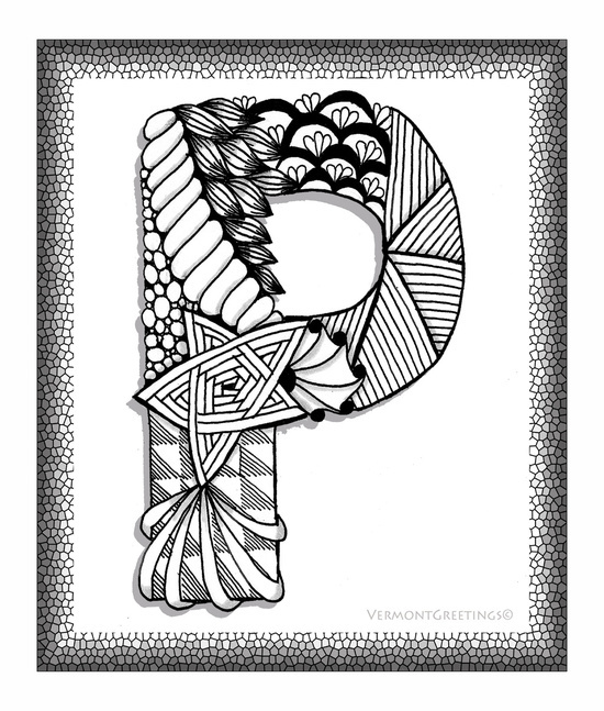 Zentangle P Monogram Alphabet Illustration - image #3198921 by ...