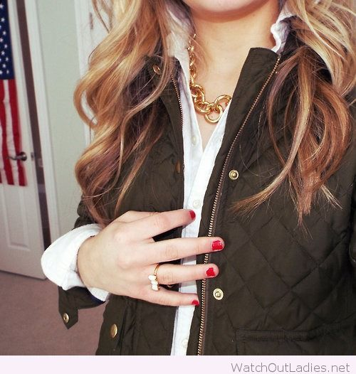 Cool barbour jacket and golden necklace