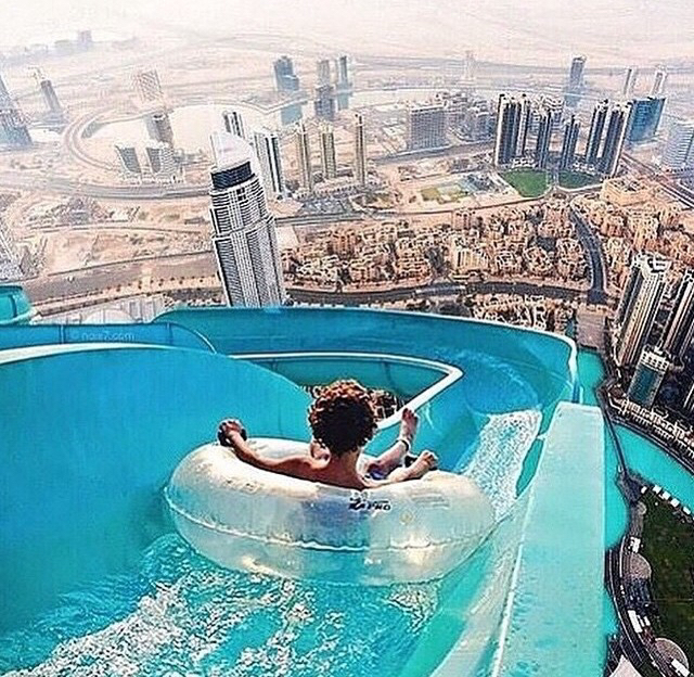adventure, bikini, blue, city, float, fun, girl, hair, pool, sky, slide, summer, sun, vacation, water