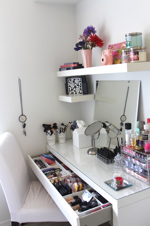 Beauty decor ikea makeup rooms roominspo image - Rangement maquillage fait maison ...