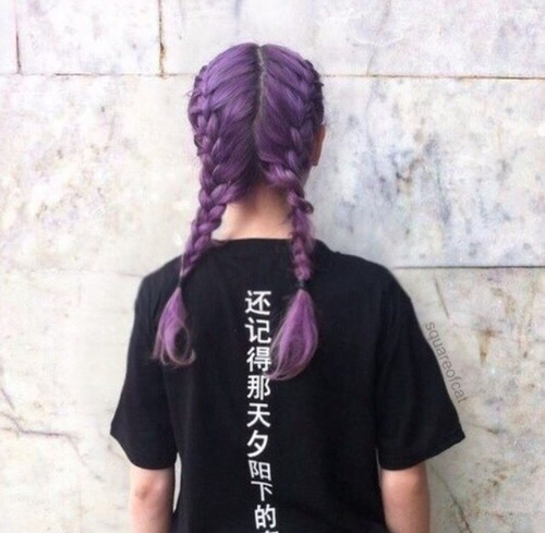 black shirt, chinese, french braid, grunge, pale, purple hair