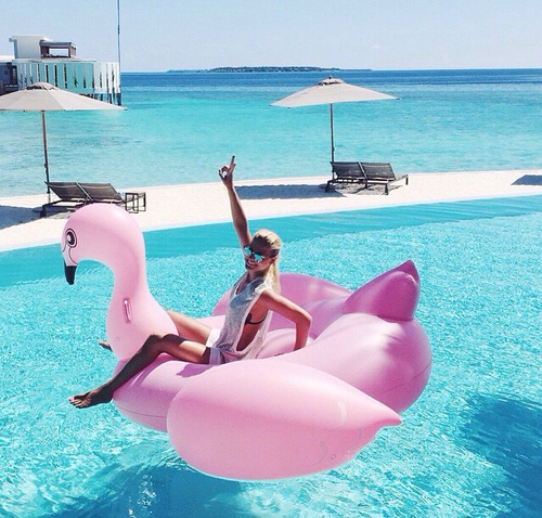 cool, float, fun, girl, pink, pool, summer, teen