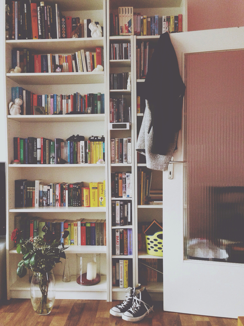 books, converse, cool, design, reading, room, shelves