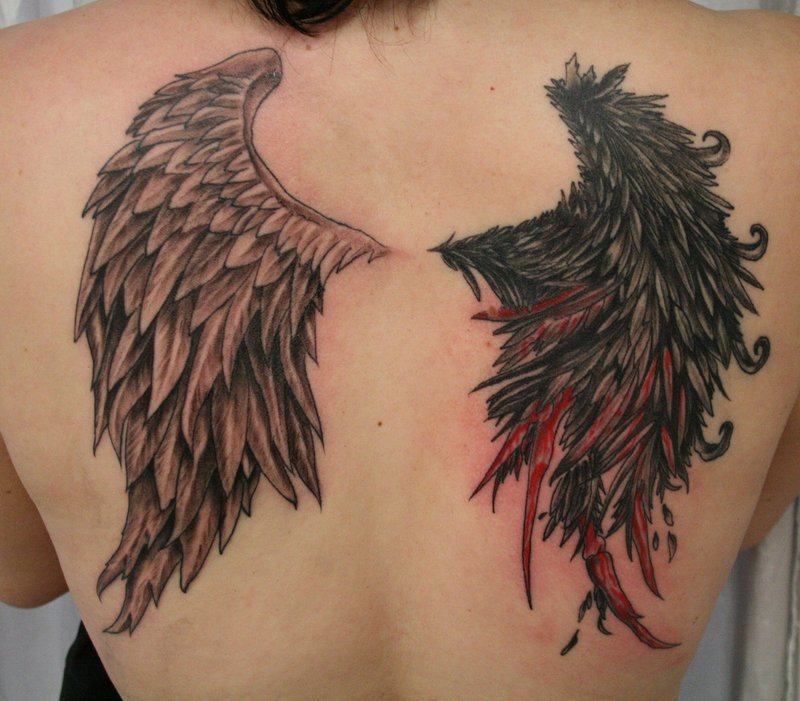 angel wings, angels, devils and tattoo