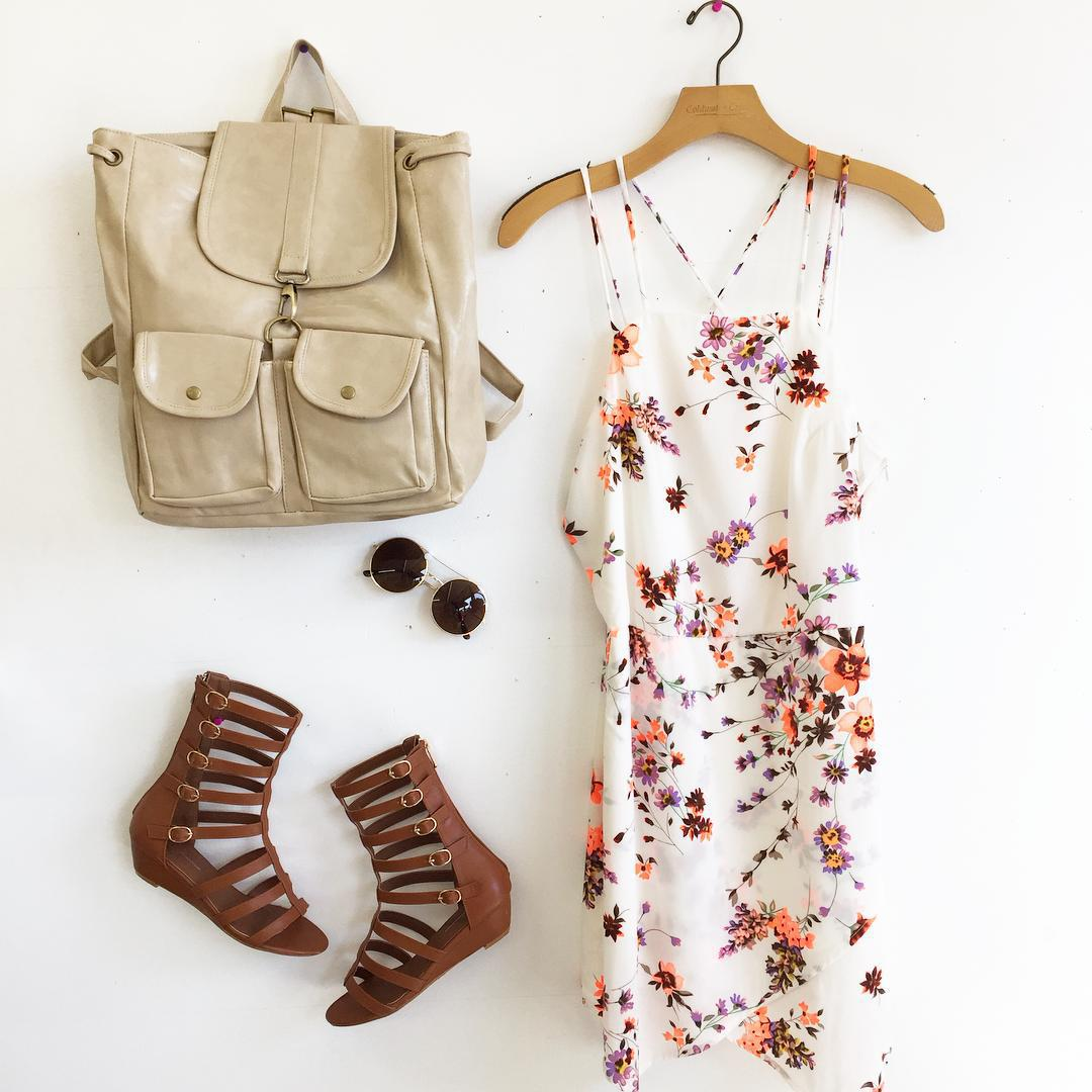 b, backpack, beige, boutique, brown, california, cute, dress, facebook, fashion, fashionista, floral, girl, hang, instagram, losangeles, love, outfit, outfits, sandals, school, shopping, style, sunglasses, tumblr, weheartit, white, ootd