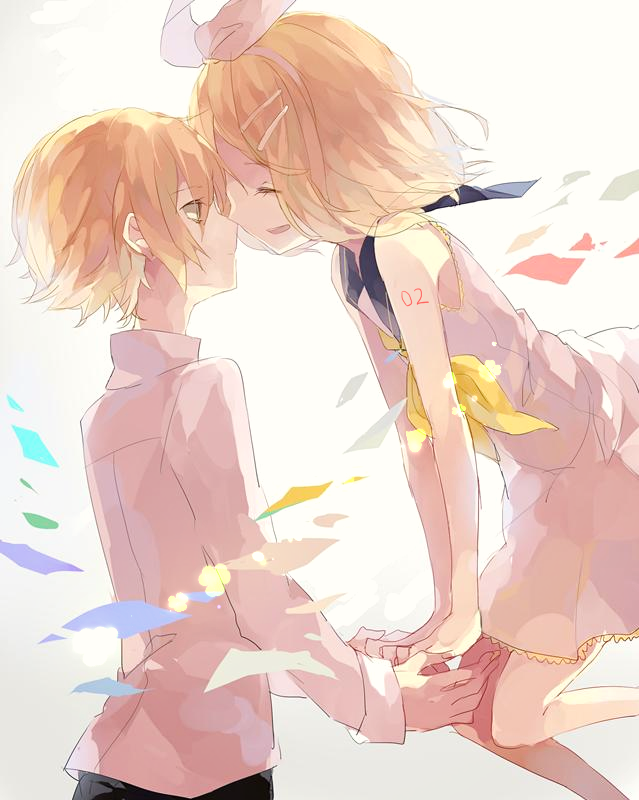 anime boy, anime girl, art, barefoot, couple, cute, draw, happy, holding hands, kagamine rin, love, oliver, ship, vocaloid