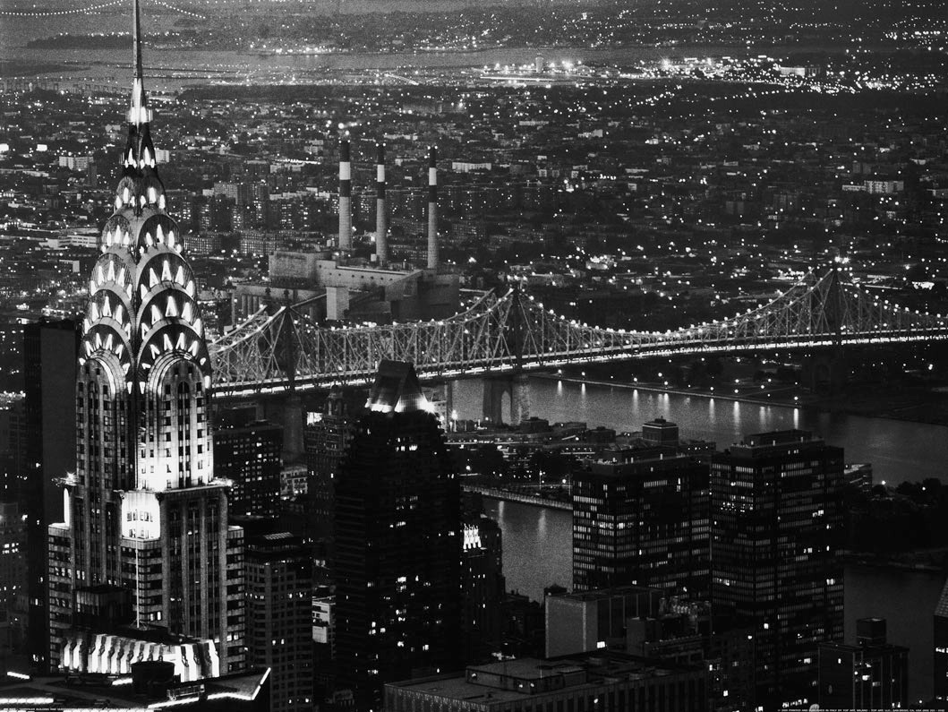 art, artistic, beautiful, bridge, chrysler building, cool, east river, new york city, panorama, swag, white and black, queensboro