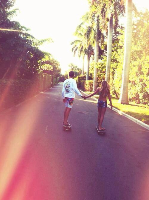 bikini, blonde, boy, boyfriend, couple, love, relationship, skate, summer