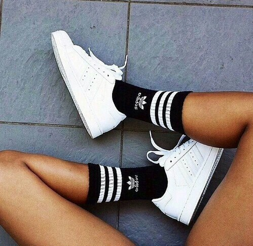 Adidas fashion girly goals outfit shoes sport sporty trainers tumblr workout - image ...