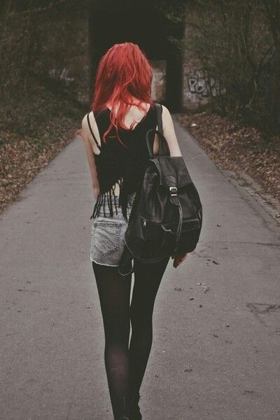 red hair and black outfit grunge image 3417760 by
