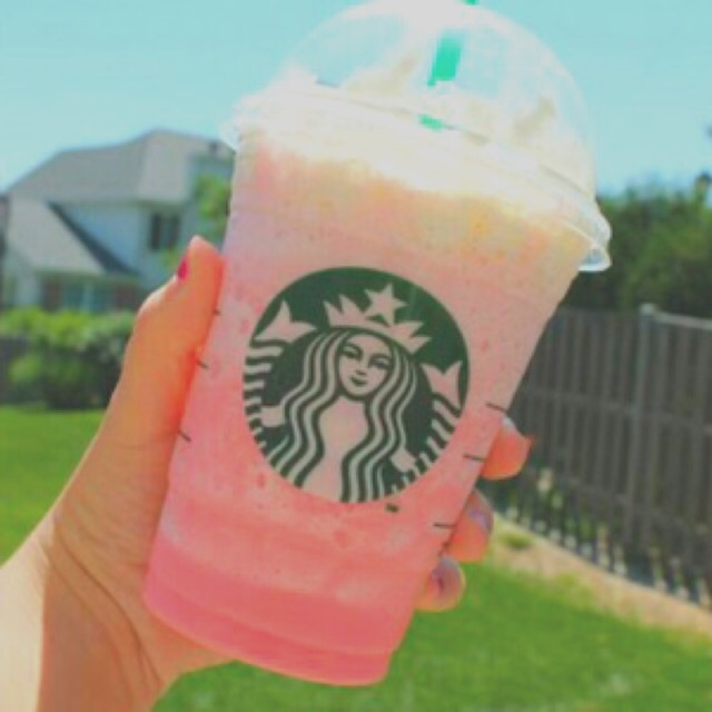 pink, grey, white, starbucks, drink, background, tree, fence, bush, filter, house, brown, green, nature, blue, sky, strawberry