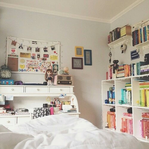 bedroom, books, colourful, cozy, cute, girly