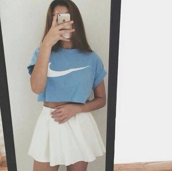 baby girl, blue, crop top, cute outfit, cute outfits, grunge, nike, skater skirt, tennis skirt