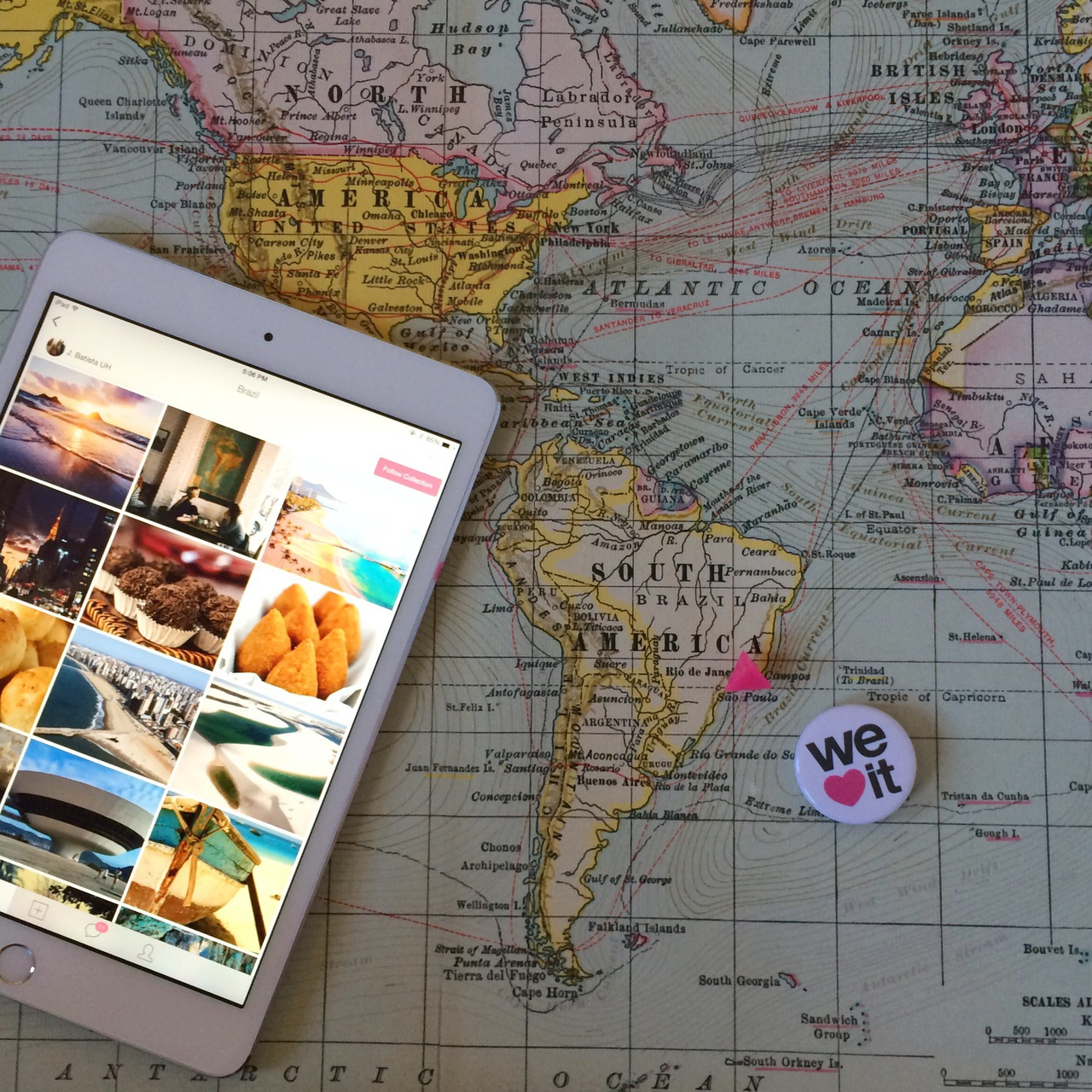 brasil, brazil, ipad mini, map, south america, travel, wanderlust, we heart it, how i heart, we heart it app