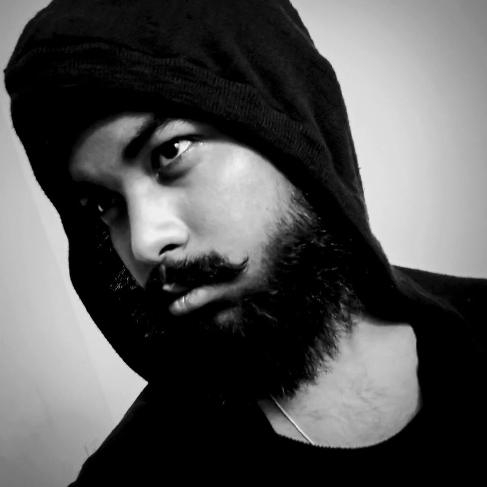 beard, black and white, guy, hood, mustache