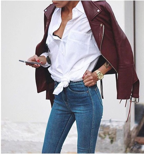 beautiful, blouses, clothes, dream, fall, gold, jeans, leather jacket, outfit, phone, pretty, september, shopping, vogue, watch, ootd