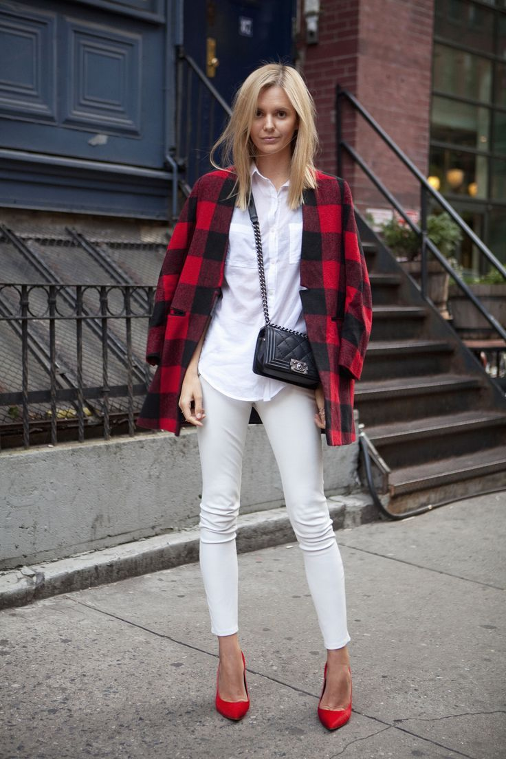 plaid, plaid coat, red heels and white denim