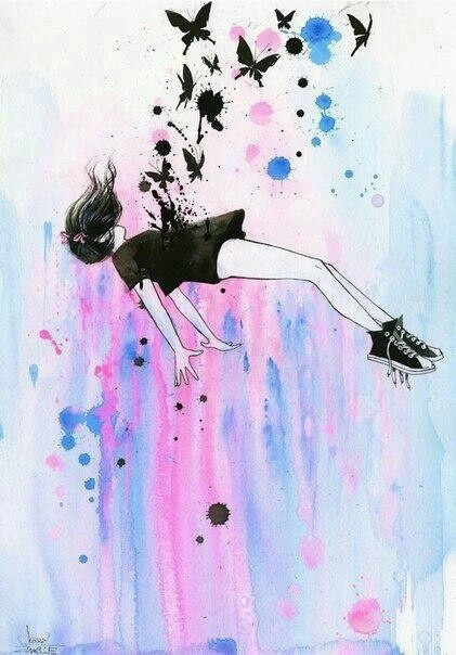 acrylic, art, colorful, falling, girl, painting, pastel