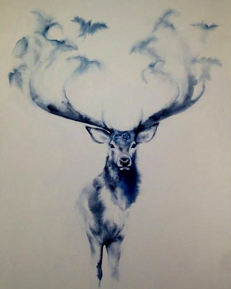 animals, art, birds, blue, creative, deer, drawing, flying, imagination, magic, sketch