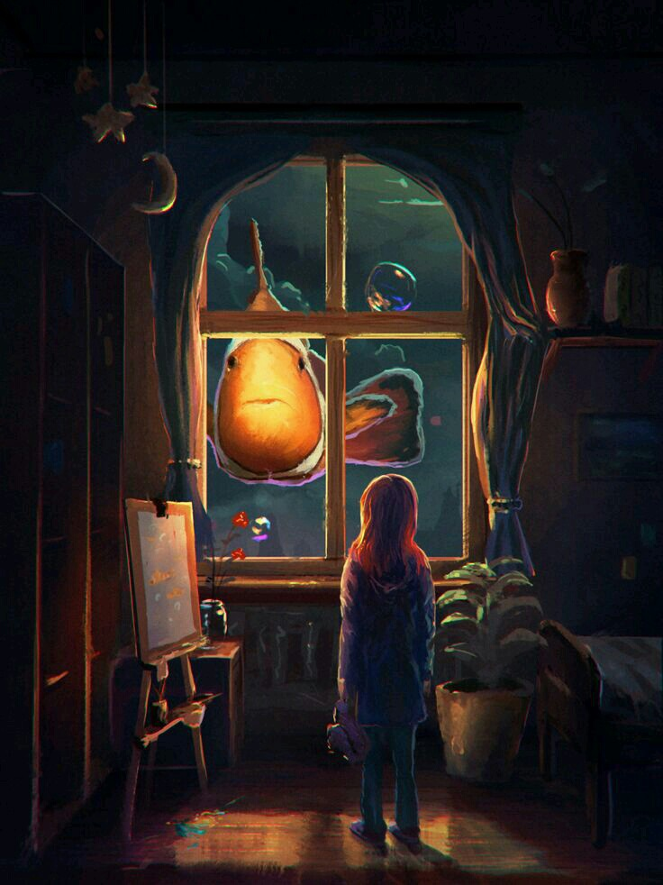 adventure, art, digital art, dream, fantasy, girl, illustration, imagination, under water, window, nimo, art of animation