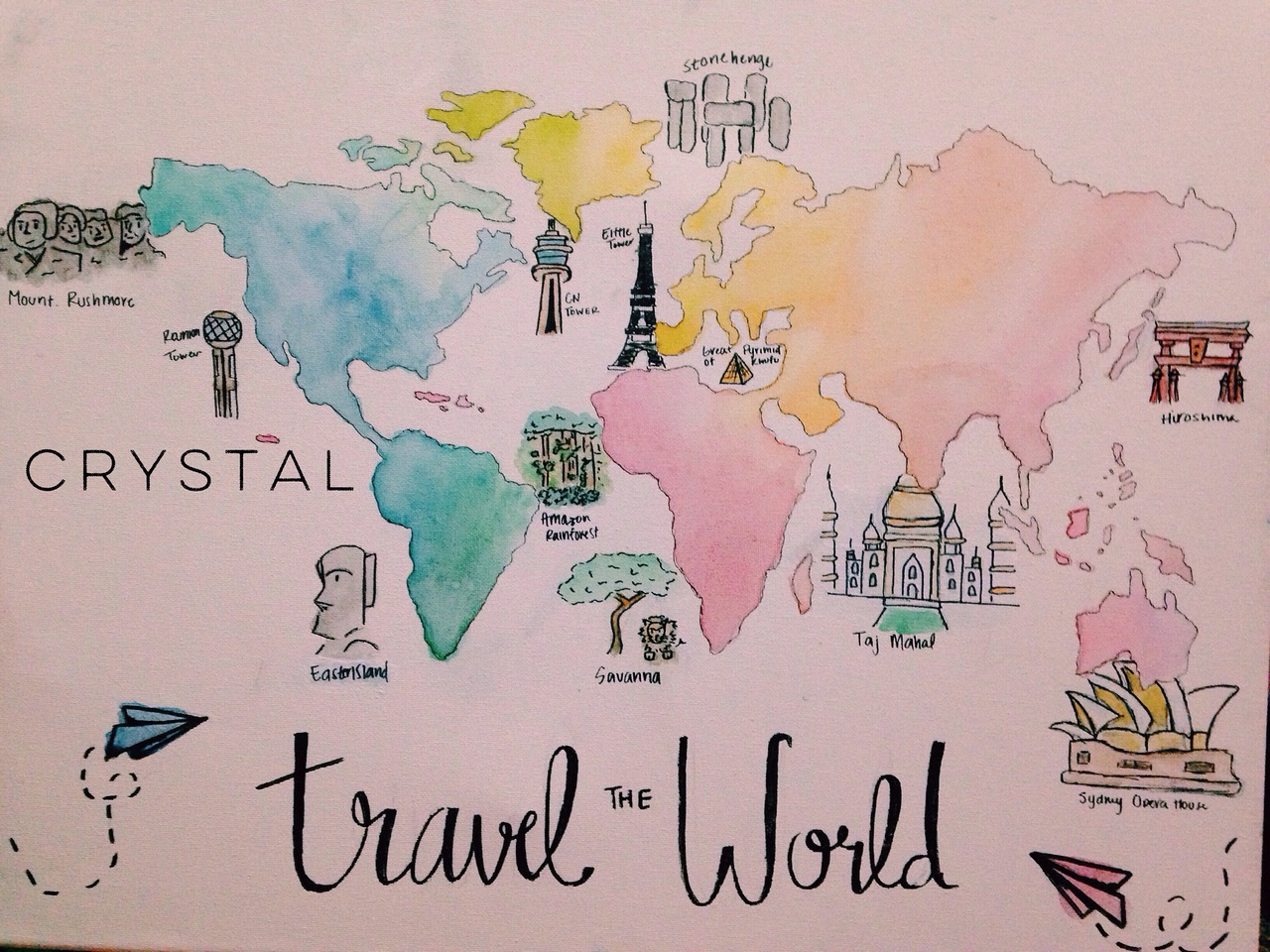 africa, art, asia, canada, cn tower, creative, creativity, drawing, earth, europe, fly, india, japan, landmarks, north america, ombre, painting, paper, paper plane, plan, savannah, sketch, south america, travel, travel the world, united states