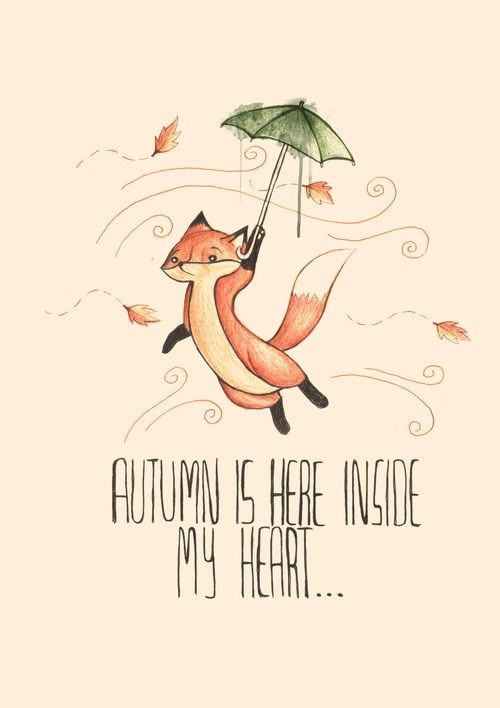 cute, fox, autumn, drawing, umbrella, fun, fall, drawings