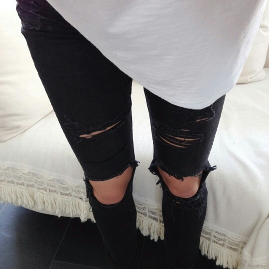 black, distressed, jeans, style, vogue, white, ootd ripped jeans