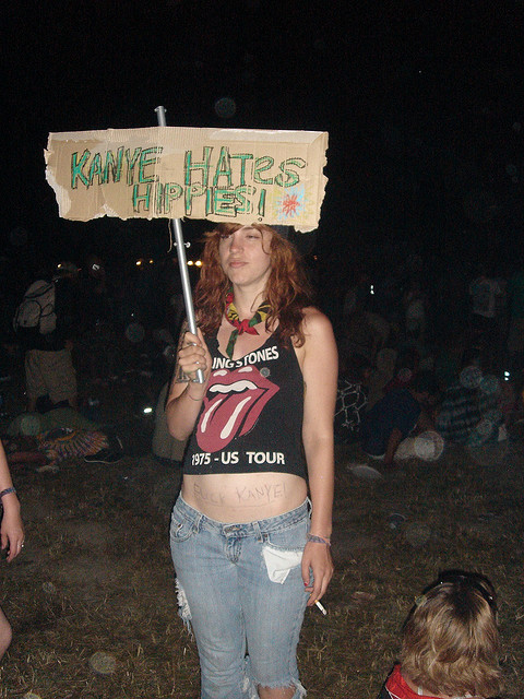 1975 tour, badass, cigarette, crop top, denim, fuck kanye, girl, hippie, hippie era, hippie girl, hippy, hippy girl, hipster, jeans, kanye, kanye hates hippies, nature, neck scarf, peace, photography, protest, protest sign, protesting, protesting hippie
