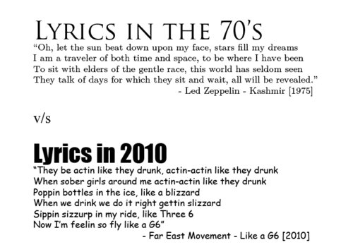70s can suck my dick, 70s were a lame time, aw yeeeh 2010 yeeeh, far east movement, funny, g6!!! :d, idiots, kashmir, led zeppelin, like a g6, like a g6 is my bro, lyrics, sutyimo, text, truth, zeppelin can suck mi dick