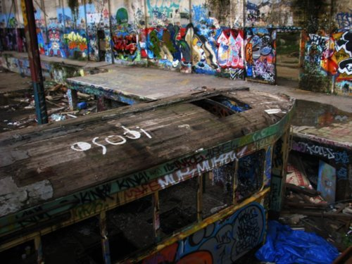 abanded, abandoned, adventure, explore, graffiti, hipster, old, shed, teenagers, tram, warehouse