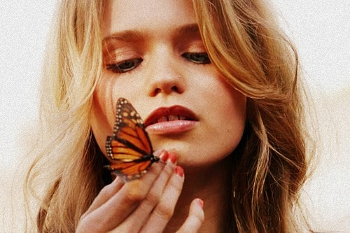 abbey, abbey lee, beautiful, blonde, butterfly, cute, girl, hair, hand, lips, lovely, model, nails, piercing, pretty, style, sweet, woman