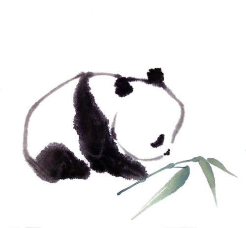 adorable, art, baby, bamboo, cute, painting, panda, watercolor