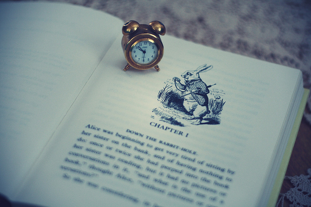 alice, alice in wonderland, book, clock, miniature