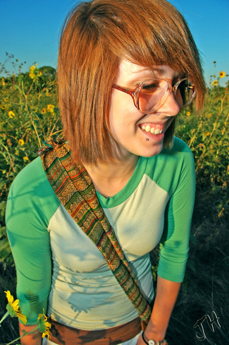 alternative, badass, blue sky, daisies, daisy field, field, flowers, fringe, ginger, girl, glasses, green, green top, hippie, hippie era, hippie girl, hippy, hippy girl, hipster, indie, lip piercing, nature, orange, orange glasses, orange hair, peace