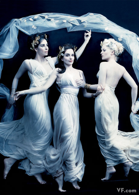 amy poehler, annie leibovitz, april 2008, drape, dress, goddess, goddesses, greek, queens of comedy, sarah silverman, tina fey, tulle, vanity fair, white